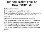 the collision theory of reaction rates