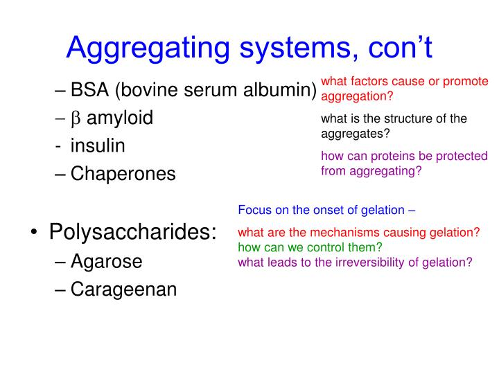 Aggregating systems, con't