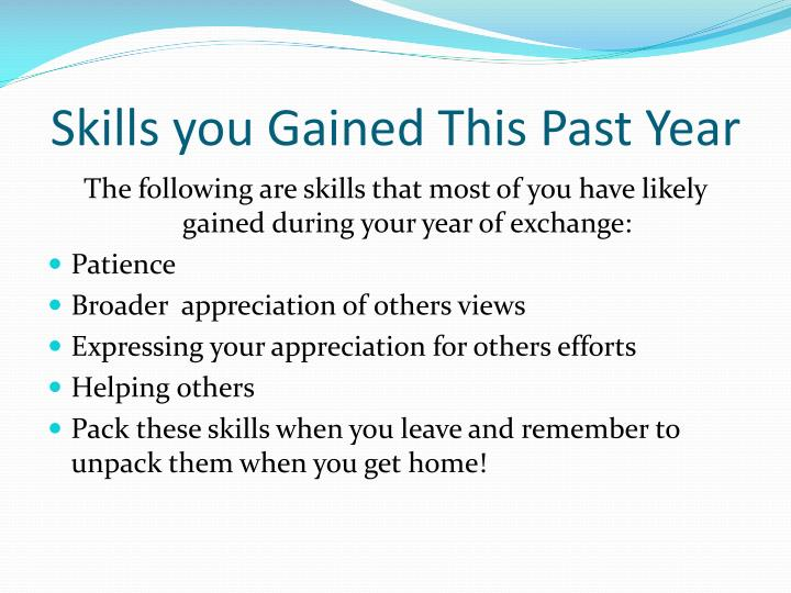 Skills you Gained This Past Year