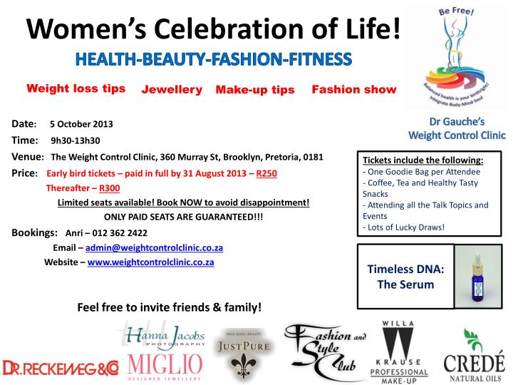 Women s celebration of life health beauty fashion fitness
