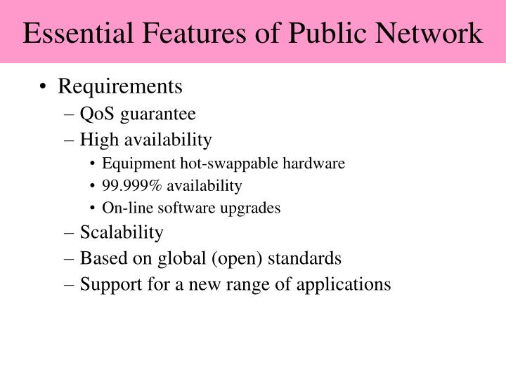 Essential Features of Public Network