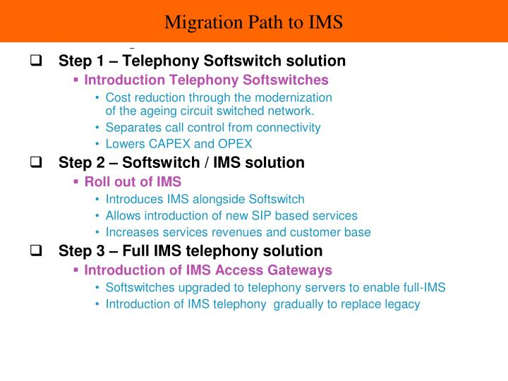 Migration Path to IMS