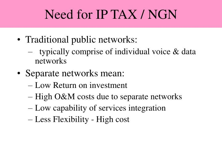 Need for IP TAX / NGN