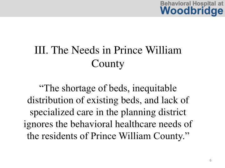 III. The Needs in Prince William County