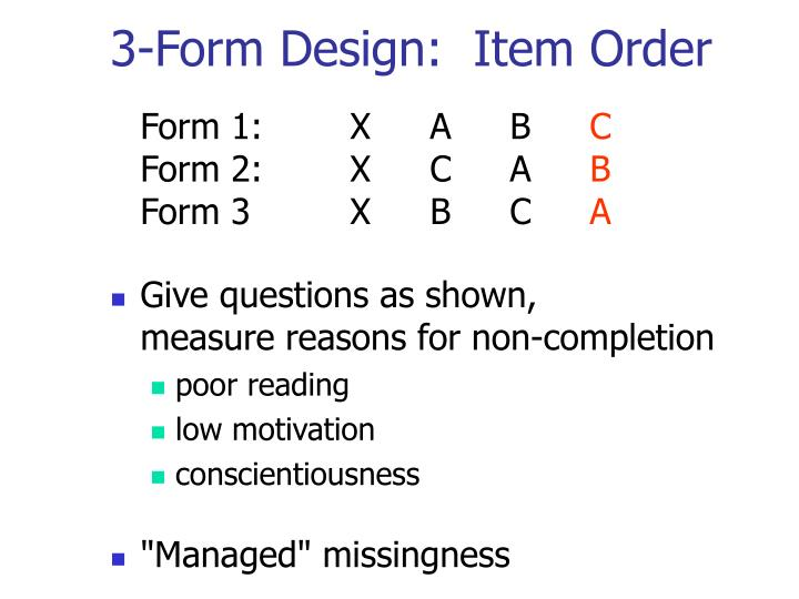 3-Form Design:  Item Order