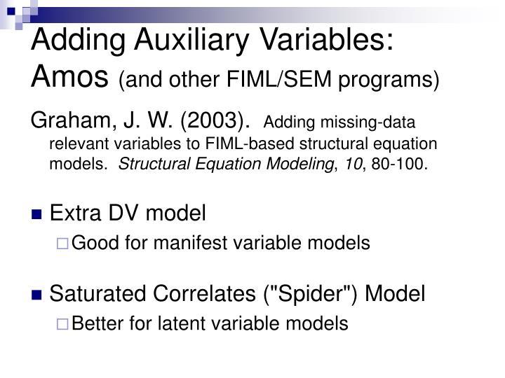 Adding Auxiliary Variables: Amos