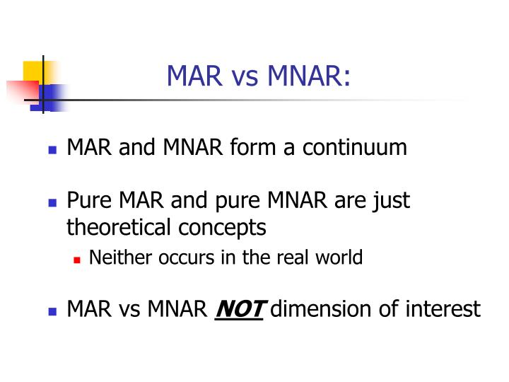 MAR vs MNAR: