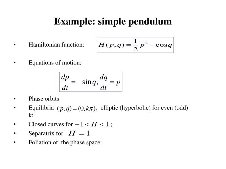 Example: simple pendulum