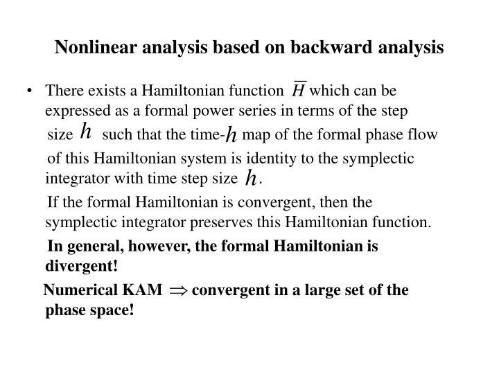 Nonlinear analysis based on backward analysis
