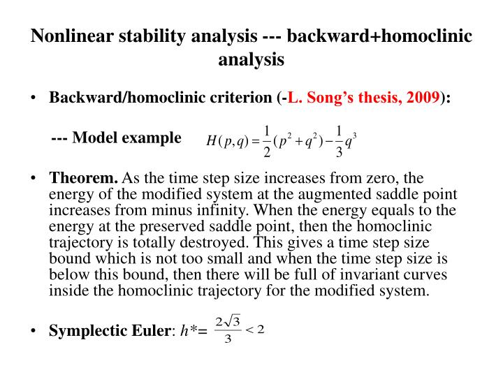 Nonlinear stability analysis --- backward+homoclinic analysis