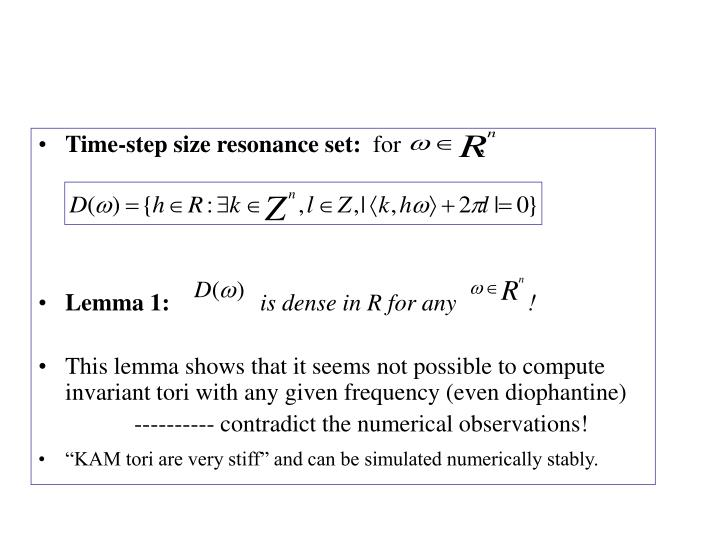 Time-step size resonance set: