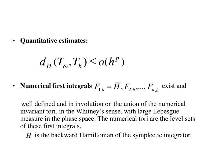 Quantitative estimates: