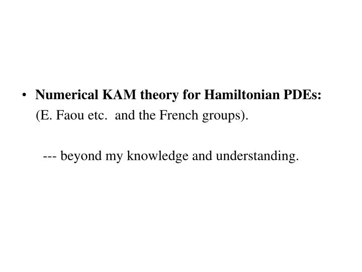 Numerical KAM theory for Hamiltonian PDEs: