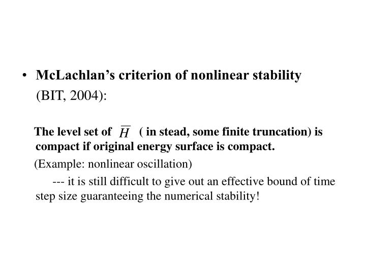 McLachlan's criterion of nonlinear stability