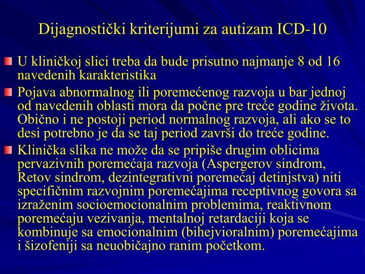 Dijagnostički kriterijumi za autizam ICD-10
