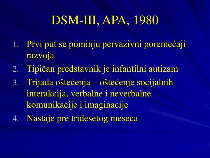 DSM-III, APA, 1980