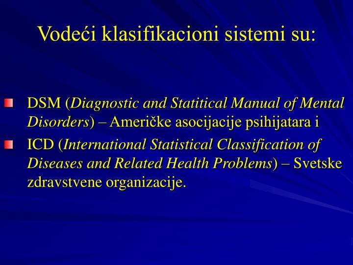 Vodeći klasifikacioni sistemi su: