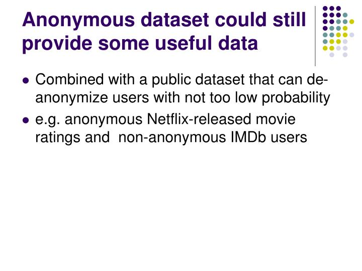 Anonymous dataset could still provide some useful data