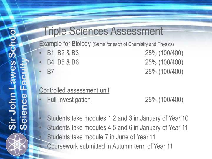 Triple Sciences Assessment