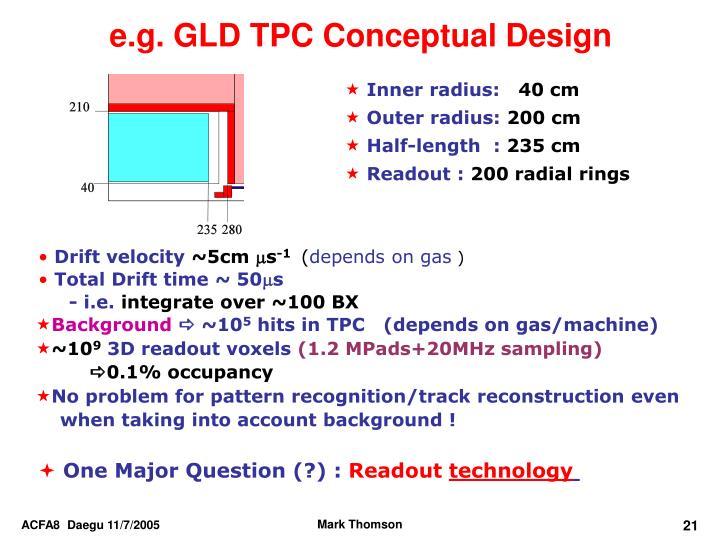 e.g. GLD TPC Conceptual Design