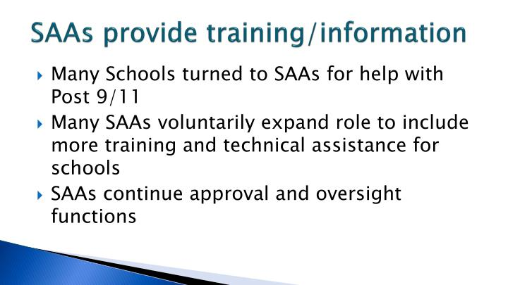 SAAs provide training/information