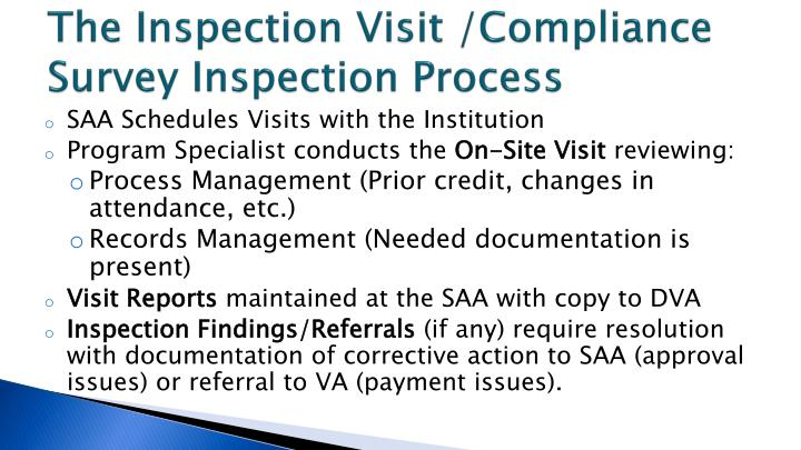 The Inspection Visit /Compliance Survey Inspection Process
