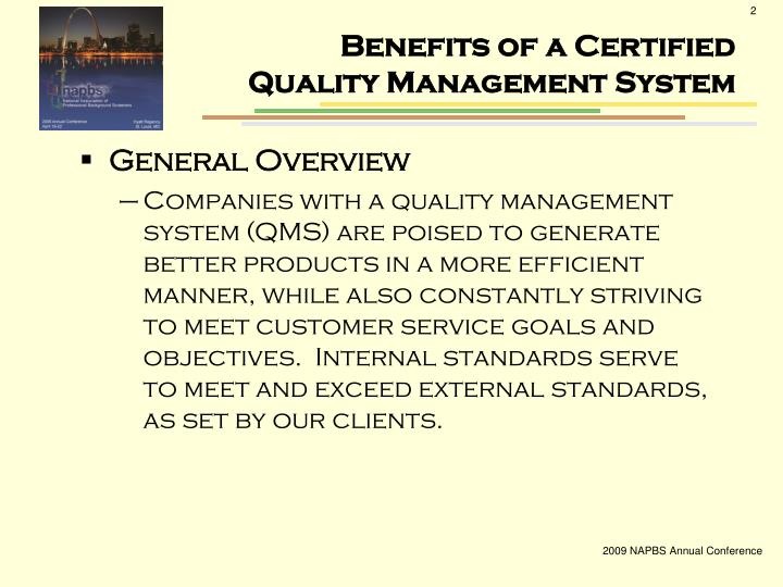 Benefits of a certified quality management system