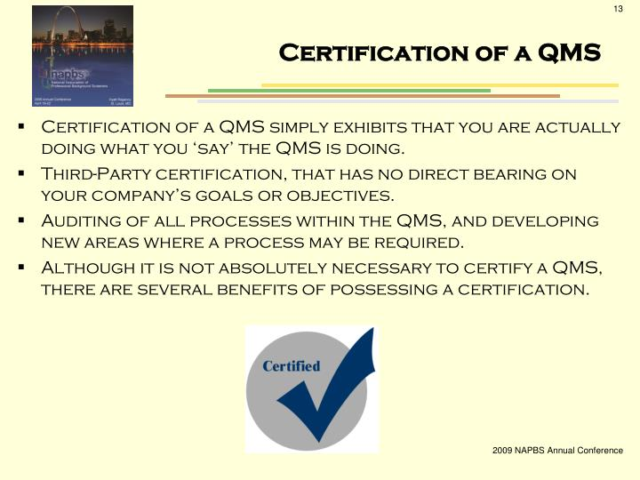 Certification of a QMS