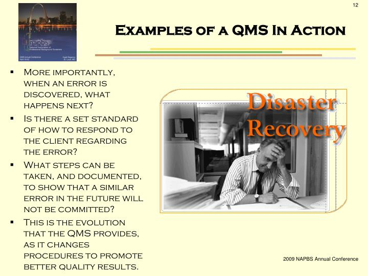 Examples of a QMS In Action