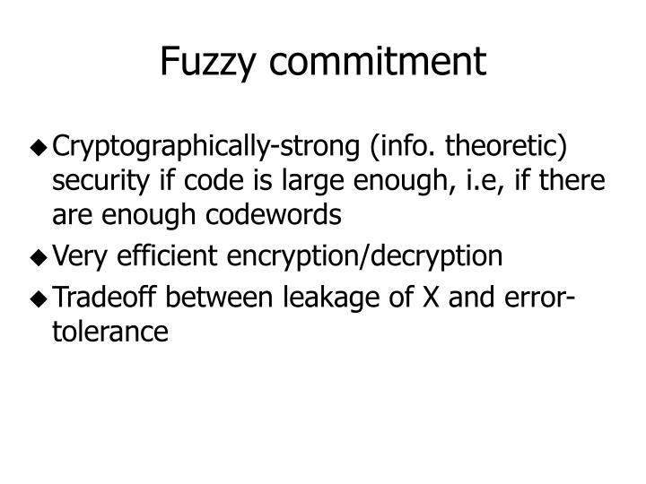 Fuzzy commitment