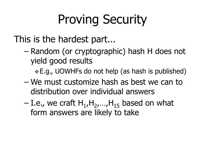 Proving Security