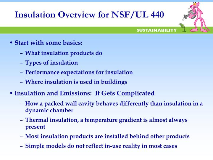Insulation overview for nsf ul 440