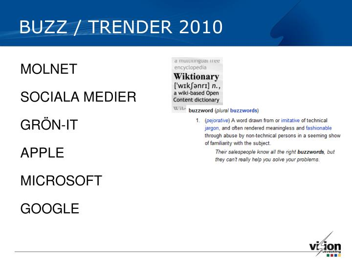 BUZZ / TRENDER 2010