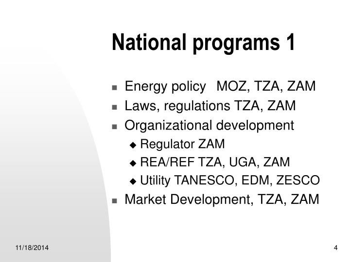 National programs 1
