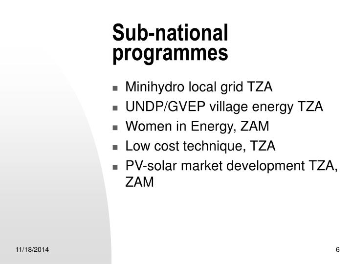 Sub-national programmes