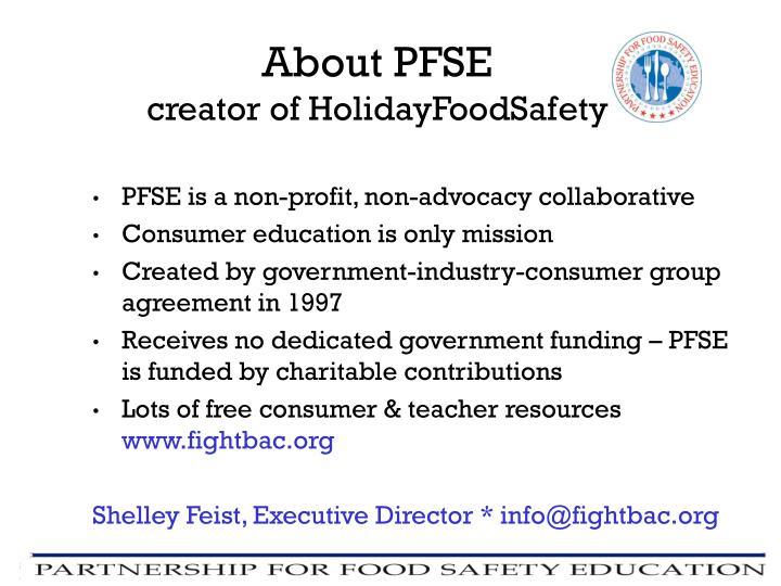 PFSE is a non-profit, non-advocacy collaborative