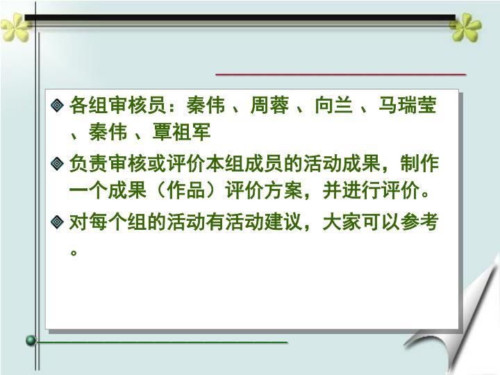 各组审核员:秦伟 、周蓉 、向兰 、马瑞莹、秦伟 、覃祖军