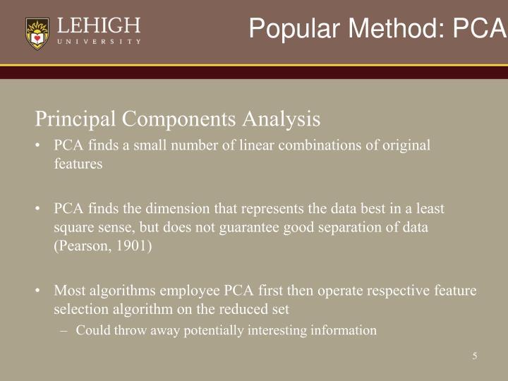 Popular Method: PCA