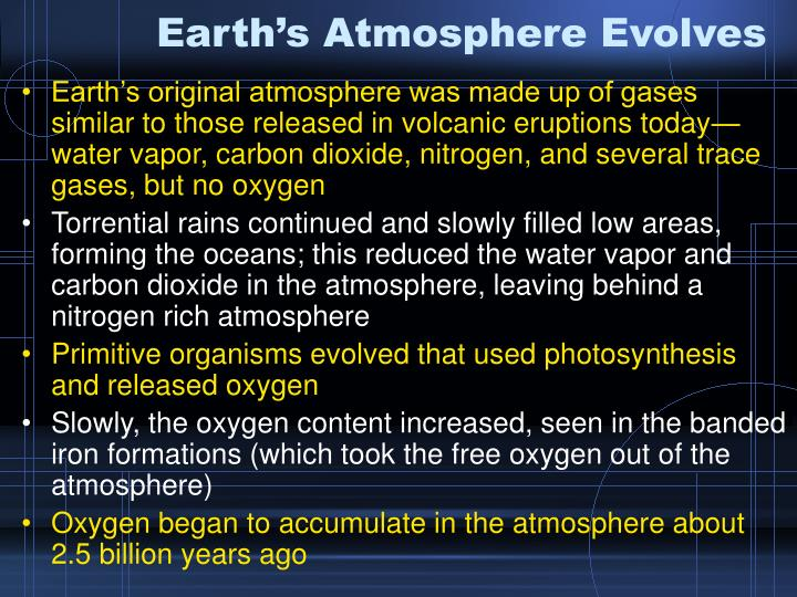 Earth's Atmosphere Evolves