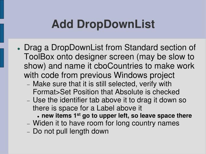 Add DropDownList