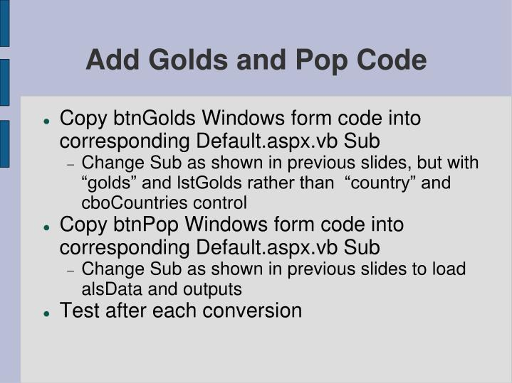 Add Golds and Pop Code
