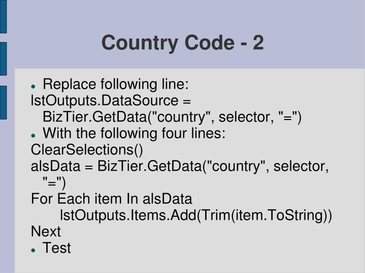 Country Code - 2