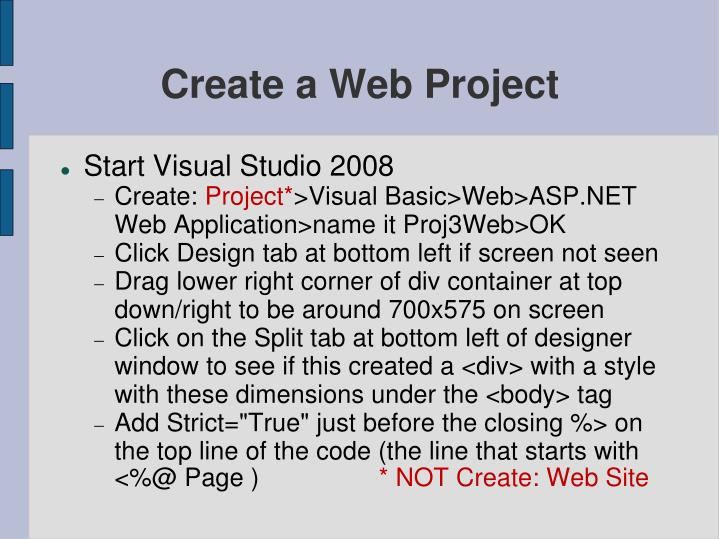 Create a web project