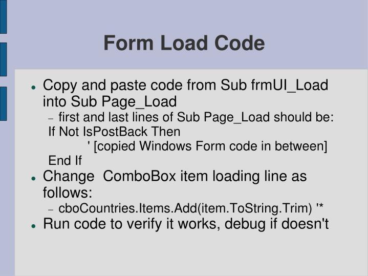 Form Load Code