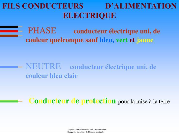 FILS CONDUCTEURS           D'ALIMENTATION ELECTRIQUE