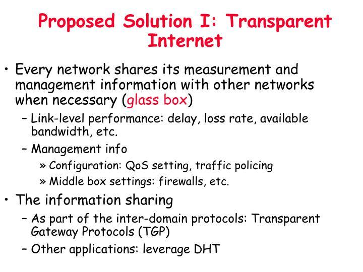Proposed Solution I: Transparent Internet