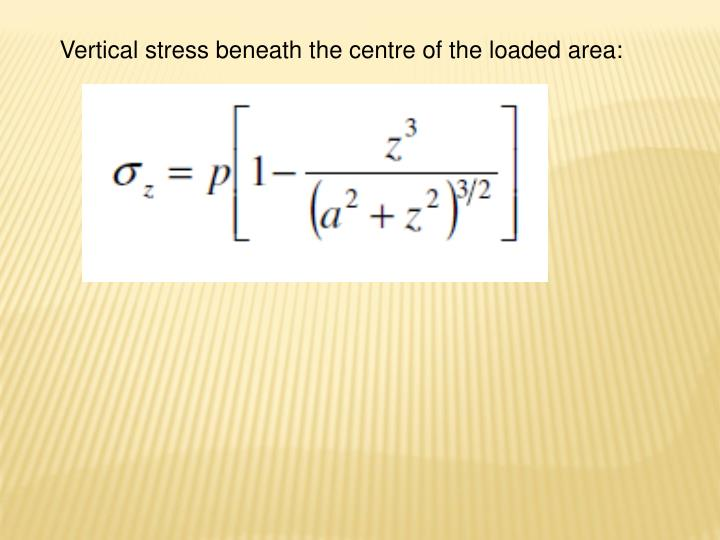 Vertical stress beneath the centre of the loaded area:
