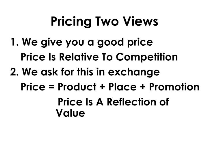 Pricing two views