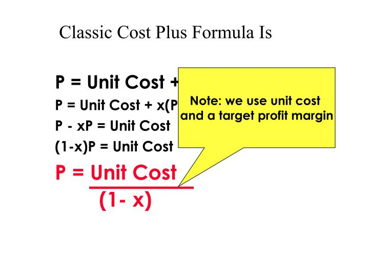 Classic Cost Plus Formula Is