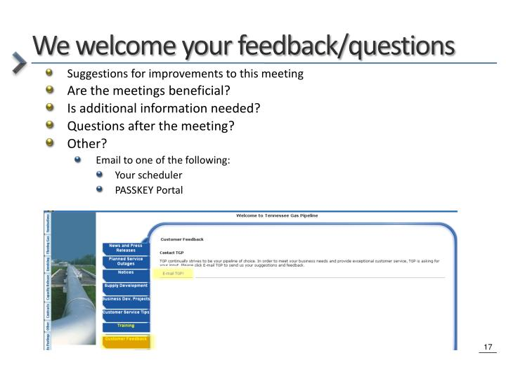 We welcome your feedback/questions